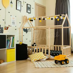 Batmanbed, toddler bed twin size, baby bed, children bed, montessori wooden house, nursery interior crib, toddler bedroom design, girl room, with fence