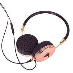Liboer Fashion Rose Gold On-Ear Headphones with Microphon...