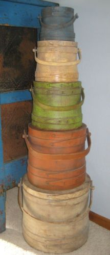 Large Stack of 5 Old Painted Firkin Sugar Bucket Pantry Box Wooden Primitive Wooden Containers, Wooden Boxes, Old Tables, Garage Sale Finds, Primitive Gatherings, Primitive Antiques, Barrels, Crates, Pantry