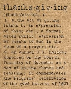 Thanksgiving dictionary quote on burlap