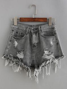 Raw Hem Denim Shorts -SheIn(Sheinside)