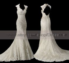 Lace Backless Wedding Dress Trumpet Scalloped Key Hole Back Open Back V Neck Bridal Gown on Etsy, $289.99