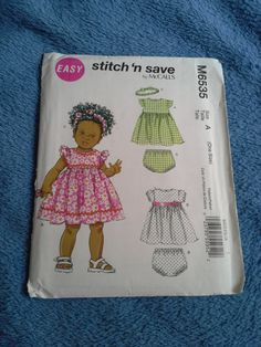 Mccalls M6535 sewing pattern Baby dress by Blooming Rose Crochet. $4.50