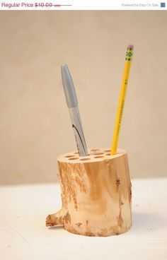 Rustic Wood Pencil/ Pen Holder, great for your office or gift for dad