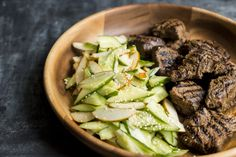 Ginger-Soy Steak with Pear-Cucumber Salad from Christopher Kimball's Milk Street Beef Recipes, Salad Recipes, Snack Recipes, Cooking Recipes, Cooking Ideas, Recipies, Pear Salad, Cucumber Salad, Beef Sirloin