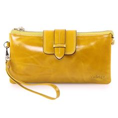 Yafeige Women's Large Capacity Leather Wristlet Wallet Clutch Small Shoulder Bag with Chain(Yellow). 100% Genuine Leather, Advanced and Prime Grained leather with wax finish, feels luxury and comfortable. Made with Soft Smooth leather, Looks even better after using for a long time. Shiny gold-color hardware accessories ,heavy duty zipper and detailed streamlined stitching brightens up the wallet. 3 compartments with a wrist strap and a gold-color metal shoulder chain and 8 card slots in…