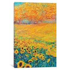 """Red Barrel Studio Sunflower Triptych Panel III Painting Print on Wrapped Canvas Size: 26"""" H x 18"""" W x 1.5"""" D"""