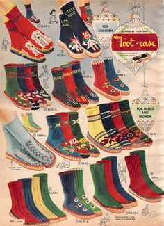 "Women & Girls ""Foot-Ease"" Footies from a 1952 Sears catalog"