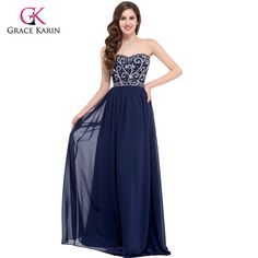 Royal Blue Prom Dresses Grace Karin Sweetheart Chiffon elegant Evening Gowns  Black Green Graduation long Prom Dresses 2017-in Prom Dresses from Weddings  ... 9abc6a24ab08