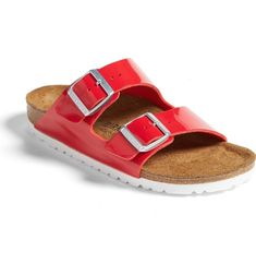 In love with these red patent leather Birkenstock sandals! They will be perfect for boating on a sunny day.