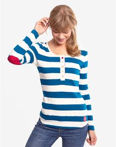 Joules BELAY Womens Striped Jersey Top, Blue. A casual top that offers coastal charm in abundance. Perfect for a life near land or sea.