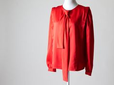SALE- 25% OFF- Bright Red Vintage Blouse- Great Condition, Removable Neck Tie/Bow on Etsy, $18.75