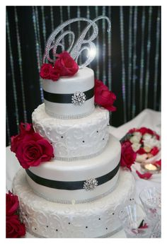 pictures of 3 tiered red and white wedding cakes | Black and White ...