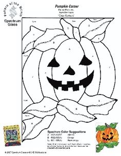 Free Stained Glass Pattern 2285-Pumpkin Corner