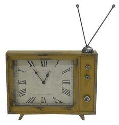Relógio de Mesa Retrô TV Amarelo EXCLUSIVIDADE