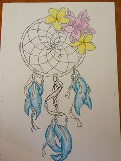 Dreamcatcher with frangipanis. I'm looking for ideas for a tattoo involving frangipanis but not looking for a beachy theme.