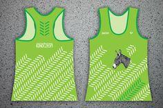 "#konoczaspi Women's sports KONOCZASPI tank tops with illustration. GREEN with PATTERN ""up"" + illustration DONKEY"