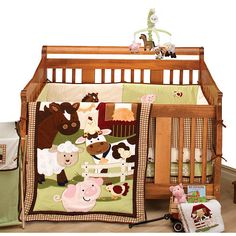 A barnyard full of fun with NoJo Farm Babies 5-Piece Crib Bedding Set from NoJo