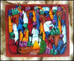Haitian Primative Canvas Art - Market Women - 20 x 24*    Original Canvas Paintings -  Art of Haiti - More More Haitian art can be found at www.HaitiGallery.com