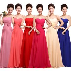 Evening Dresses 2014 New Fashion Women Sexy Party Dress Pink Chiffon Long Strapless Bridesmaid Dress Mother Of The Bride Dresses € 21,16 - 28,72