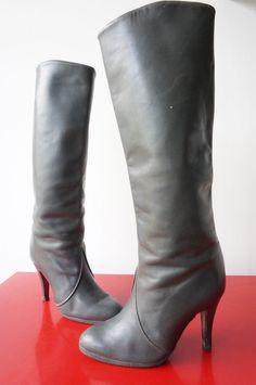 Bottes Boots Cuir LEATHER T 37 vINtaGE vtg 70 SEventies PreppY RETRO hIPPY Chic