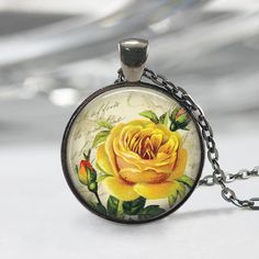 Stunning handmade flower pendant necklace yellow rose yellow rose yellow rose necklace rose pendant and chain yellow rose of texas flower mozeypictures Image collections