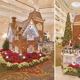 Located in the lobby of  Disney's Grand Floridian Resort and Spa , this  Victorian-style   gingerbread house is a sensory experience with stunning sugar flowers,  chocolate sculptures including a 200 pound Santa, 15 hidden Mickeys and  the smell of cinnamon and sugar that hits you immediately as you walk in  the hotel.