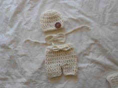 3pc Short set outfit hat  size newborn. by TinyAngelsBoutique, $16.00