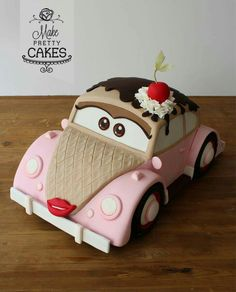Miss Lovebug ice cream sundae car cake - by Make Pretty Cakes Pretty Cakes, Cute Cakes, Beautiful Cakes, Amazing Cakes, Girly Cakes, 3d Cakes, Fondant Cakes, Fondant Bow, Fondant Tutorial