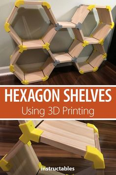 Hexagon Shelves Using Printing Create custom hexagon modular shelving with print joins.Create custom hexagon modular shelving with print joins. 3d Printer Designs, 3d Printer Projects, Wood Projects, Modular Furniture, Diy Furniture, Furniture Design, Furniture Storage, Barbie Furniture, Garden Furniture