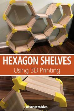 Hexagon Shelves Using Printing Create custom hexagon modular shelving with print joins.Create custom hexagon modular shelving with print joins. Furniture Makeover, Diy Furniture, Furniture Design, Furniture Storage, Barbie Furniture, Garden Furniture, Furniture Chairs, Plywood Furniture, Unique Furniture