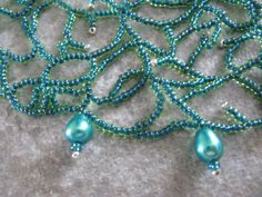 Teal Freshwater Pearl Lacy Beadwork Necklace by Leeladoo on Etsy