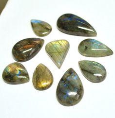 Labradorite Gemstone Cabochons Tear Drop  10 pcs by AliveGems, $30.00