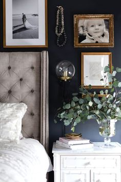 A combination of black paint, moody artwork, brass accents and an art deco flair give this master bedroom reveal both a masculine and feminine vibe. inspirations master Black and brass accents give this master bedroom reveal a moody edge! Bedroom Colors, Home Decor Bedroom, Modern Bedroom, Bedroom Ideas, Bedroom Designs, Contemporary Bedroom, Bedroom Inspiration, Art Deco Interior Bedroom, Bedroom Inspo