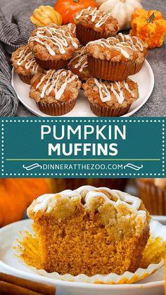 Fall Dessert Recipes, Fall Recipes, Delicious Desserts, Yummy Food, Recipes Dinner, Mini Desserts, Best Pumpkin Muffins, Pumpkin Cream Cheese Muffins, Pumpkin Chocolate Chip Muffins