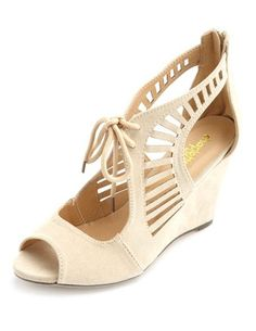 Laser-Cut Lace-Up Single Sole Wedges: Charlotte Russe