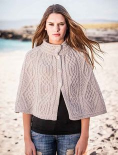 Aran Diamond and Trellis Cape by Natallia Kulikouskaya for West End Knitwear, Ireland