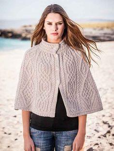 Aran Diamond and Trellis Cape by Natallia Kulikouskaya for West End Knitwear, Ireland