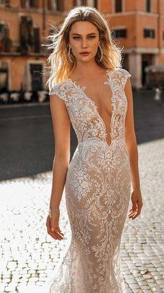 2nd Wedding Dresses, Lace Beach Wedding Dress, Fit And Flare Wedding Dress, Stunning Wedding Dresses, Backless Wedding, Bridal Dresses, Mermaid Wedding, Pronovias Wedding Dresses, Tattoo Wedding Dress