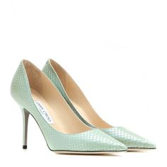 Jimmy Choo Agnes Snakeskin-Effect Leather Pumps ($315) ❤ liked on Polyvore