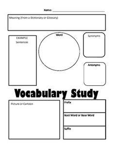 In-Depth Vocabulary Graphic Organizer - BeccaJ1601 - TeachersPayTeachers.com