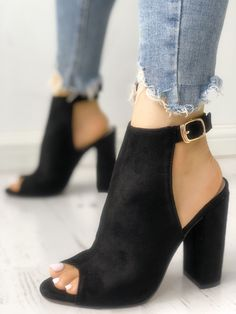 shoes - Shop Solid Suede Peep Toe Slingback Chunky Heels right now, get great deals at Joyshoetique Lace Up Heels, Peep Toe Heels, Pumps Heels, Flats, Heeled Sandals, Cute Shoes, Me Too Shoes, Chunky High Heels, Chunky Heels Outfit