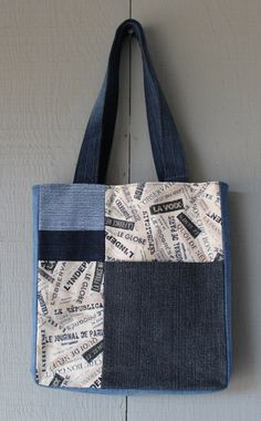 Vintage Style Typography Print Fabric and Denim Patch with Front Pocket Tote with Coordinating Soft Cotton Lining by AllintheJeans on Etsy