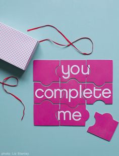 """Valentine's puzzle! I could totally make a scavenger hunt out of this! (to end with a secret message) If I put one piece in each little package in the box or something, it would be super cute """"I won't give up"""" is what it would say :)"""