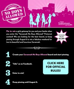 A Pinterest contest for the ladies! Pin 10, enter to win and you could win a girls getaway for 2 at the luxe Mansion on Forsyth Park!