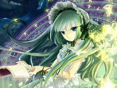 Đặt ảnh anime đây~  - Girl anime tóc xanh lá