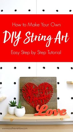 Discover how to make your own DIY String Art Heart with this easy step by step tutorial. All you will need is some yarn or string, nails, a hammer, scissors and some wood (we use recycled pallet wood boards or fence pailings). By following the instructions you will see just how easy this eye catching home décor project is to do – and get ideas for other designs, from animals and names to words, Christmas designs and more. A great budget friendly handmade gift idea for a birthday, Valentine's…