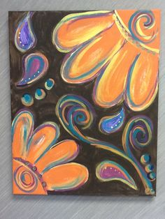 Canvas painting -- floral but in new color palatte!