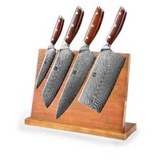 CUT YOUR KITCHEN INGREDIENTS MORE EASILY TO OPTIMIZE YOUR TIME IN THE KITCHEN WITH THIS SET OF 5 CHEF KNIVES. THIS IS A SET OF 4 KITCHEN KNIVES WITH A 67 LAYER KNIFE HOLDER. MAKE COOKING EASIER AND FASTER. Chef Knife Set, Knife Sets, Chef Knives, Knife Holder, Wooden Handles, Knife Block, Kitchen Knives, Layers, Cooking