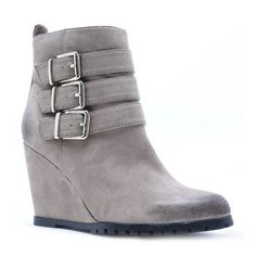 Qupid Taupe Tustin Bootie ($35) ❤ liked on Polyvore featuring shoes, boots, ankle booties, wedges, ankle boots, wedge ankle boots, zipper ankle boots, wedge heel ankle boots, taupe booties and short boots